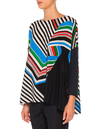 Diagonal Swirl Striped Ruffled Tunic