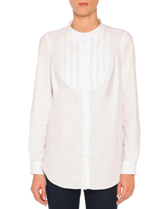 Fish-Wire Loop Tuxedo Blouse, White