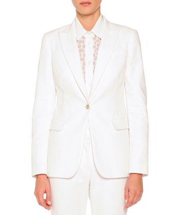 Techno Cotton Single-Button Blazer, Sheer Box-Textured Blouse & Cristina ...