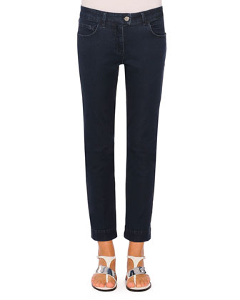 Audrey Straight-Leg Denim Jeans, Navy