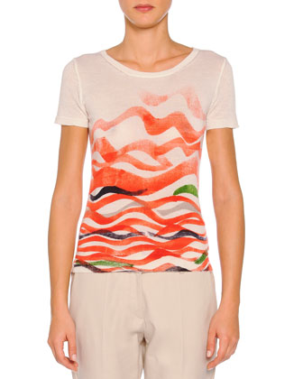 Cashmere-Blend Wave-Print Sweater, Orange Multi