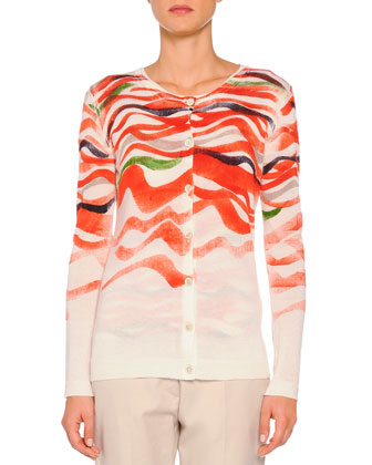 Cashmere-Blend Wave-Print Cardigan, Orange Multi