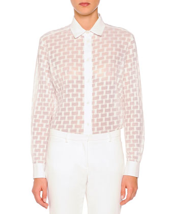 Sheer Box-Textured Blouse, White
