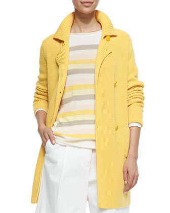 Double-Breasted Cashmere Sweater Coat, Cashmere Striped & Colorblock ...