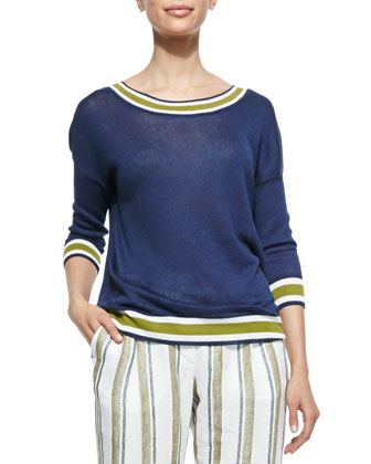 Linen Stripe-Trimmed Reversible Sweater, Midnight Fancy