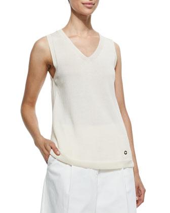 Silk-Blend Knit V-Neck Shell, Spelt Ivory