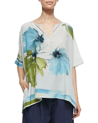 Shirlee Blooming Flower-Print Silk Blouse, Leaves Hibiscus