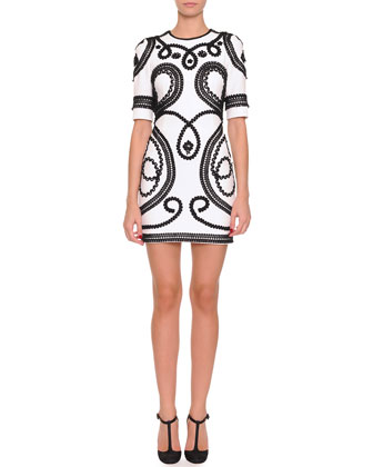 Short Scroll-Embroidered Dress, White/Black