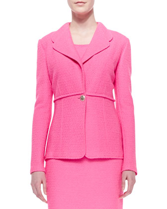 Crinkled Twill Single-Button Blazer & Sheath Dress, Electric Pink