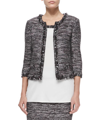 Sparkle-Inlay Fringe-Trimmed Jacket, Caviar Multi