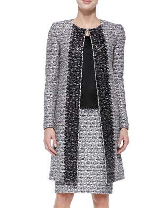 Subtle Plaid Shimmer Knit Topper Jacket, Liquid Satin Tank & Pencil Skirt ...