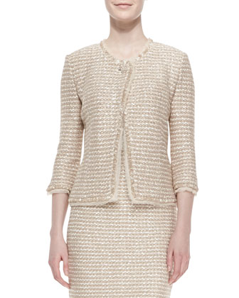 Luxe Sparkle Tweed Asymmetric-Button Blazer, Shell Multi