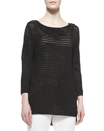 Transparent Stripe Knit Top, Caviar