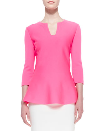 Milano Knit 3/4-Sleeve Notched-Neck Top