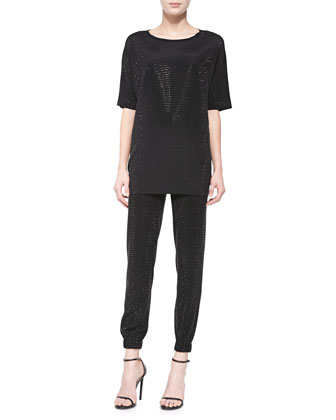 Sequined Soft Wash Jersey Combo Blouse, Black