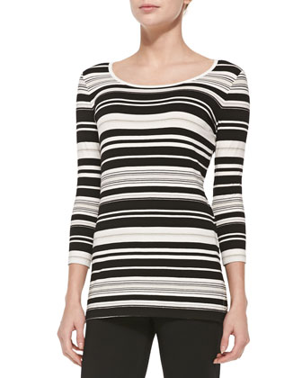 Milano Knit 3/4-Sleeve Swing Jacket, Multi-Striped Jersey Tee & Stretch ...