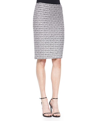 Subtle Plaid Shimmer Knit Pencil Skirt
