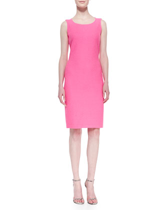 Crinkled Twill Sheath Dress, Electric Pink