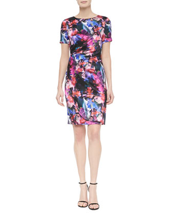 Mini Floralscape-Print Tuck-Pleated Dress, Caviar Multi