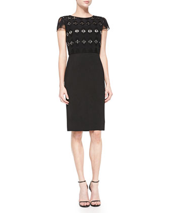 Bead-Embellished Geometric-Cutout Dress, Caviar