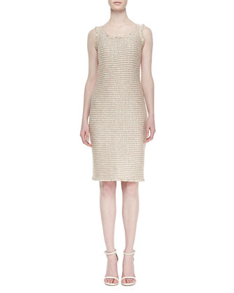 Luxe Sparkle Tweed Sheath Dress, Cream