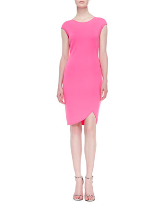 Milano Micro-Pique Knit Cap-Sleeve Dress, Electric Pink