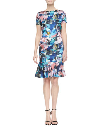 Floral Collage-Print Flounce Dress, Pewter Multi