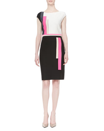 Milano-Knit Colorblock Dress, Caviar Multi