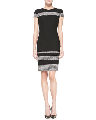 Micro-Tweed Topper & Engineered Stripe Sheath Dress