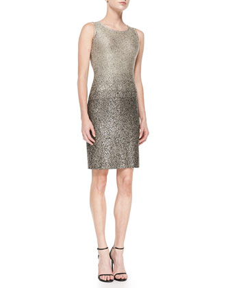 Degrade Shimmer Knit Dress, Gold/Caviar Multi