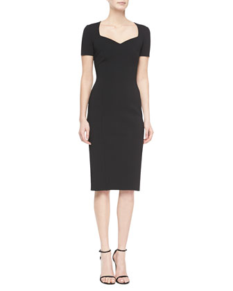 Neo-Milano Knit Sweetheart Dress, Black