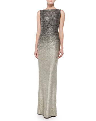 Shimmer Knit Degrade Gown, Gold/Caviar Multi