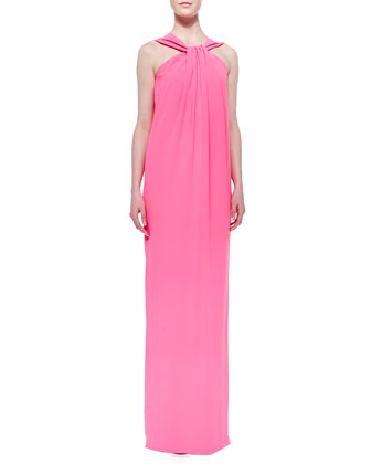 Lightweight Crepe Cady Halter Gown, Electric Pink
