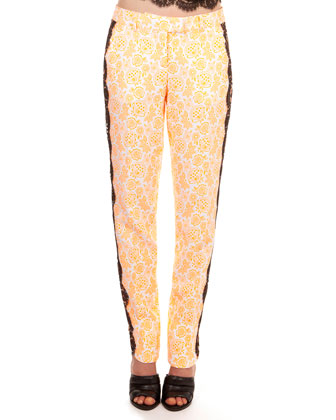 Floral Printed Pants with Side Lace Trim