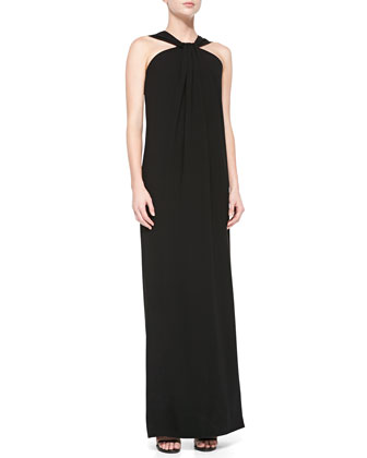 Lightweight Crepe Cady Halter Gown, Caviar