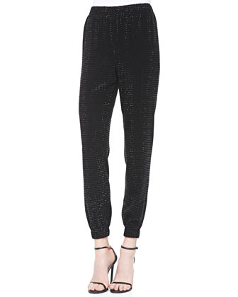 Sequined Lightweight Crepe Cady Pants, Caviar