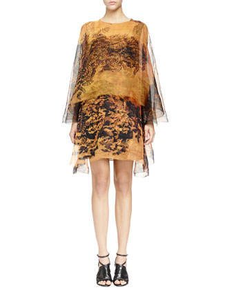 Printed Organza Double-Layer Dress, Golden Yellow