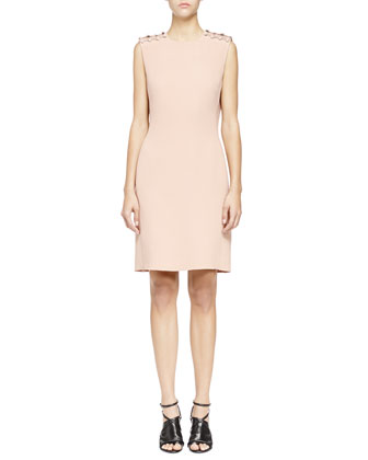 Pearly Pierced Washed Cady Sheath Dress, Nude