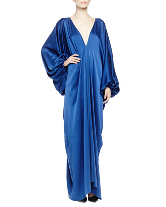 Silk Satin Plunging Balloon-Sleeve Gown, Royal Blue