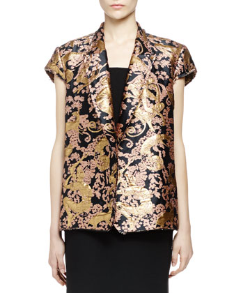 Golden Monkey Brocade Short-Sleeve Jacket & Pierced Wide-Strap Dress