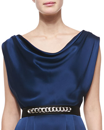 Liquid Crepe Draped Cowl-Neck Dress & Liquid Satin Chain-Embellished Belt