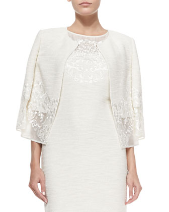 Lace-Trimmed Sparkle Shantung Knit Jacket, Cream/Gold