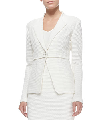 Punto Riso Knit Rever Collar Jacket, 2-Ply Silk Georgette V-Neck Shell & ...