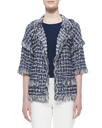 Plaid Boucle Knit Half-Sleeve Jacket