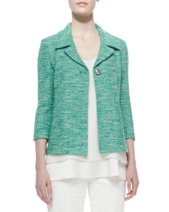 Shantung Tweed Knit 3/4-Sleeve Jacket, 2-Ply Silk Georgette V-Neck Shell & ...