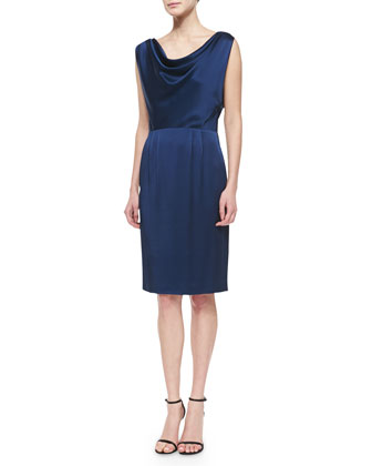 Liquid Crepe Draped Cowl-Neck Dress, Navy