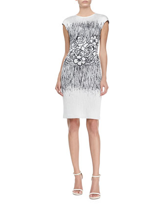 Floral Shimmer Jacquard Knit Sheath Dress, Marine/White