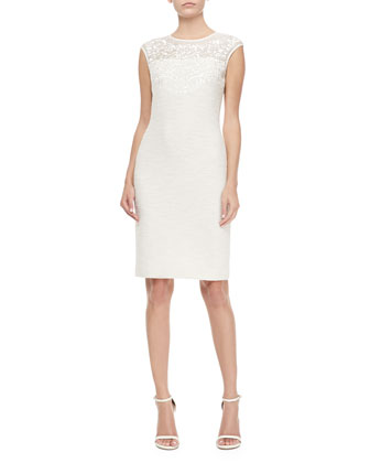 Sparkle Shantung Knit Cap-Sleeve Sheath Dress, Cream