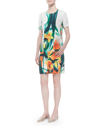 Tropical Floral-Print Stretch Silk Dress