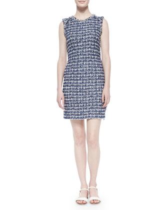 Boucle Plaid Knit Sheath Dress, Marine Multi